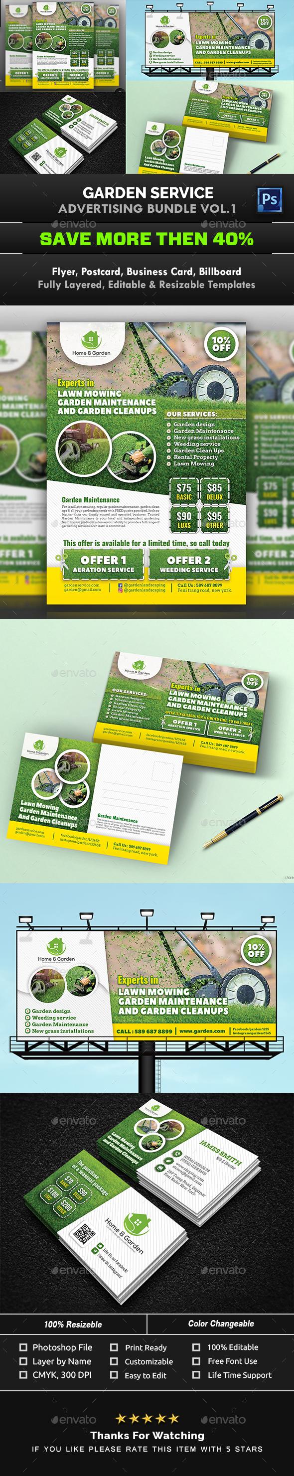 Garden Landscape Advertising Bundle Vol.1 - Signage Print Templates