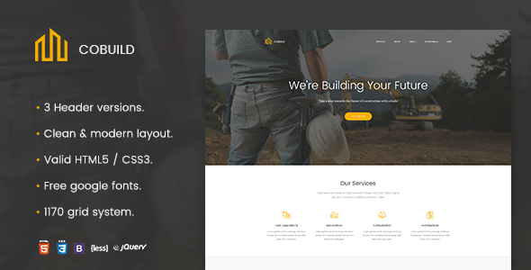 Cobuild - Construction Landing Page Html Template by zytheme