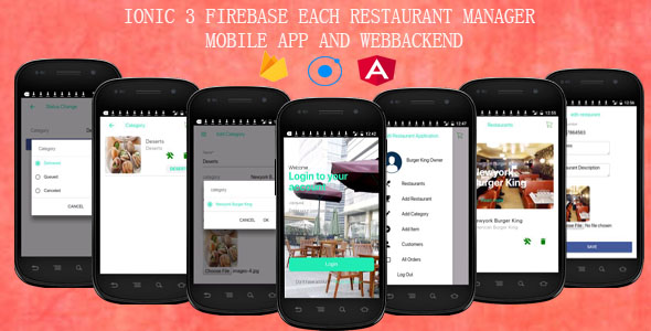 EACH RESTAURANTS /IONIC 3 FIREBASE/ MANAGER MOBILE APP AND WEBBACKEND - CodeCanyon Item for Sale