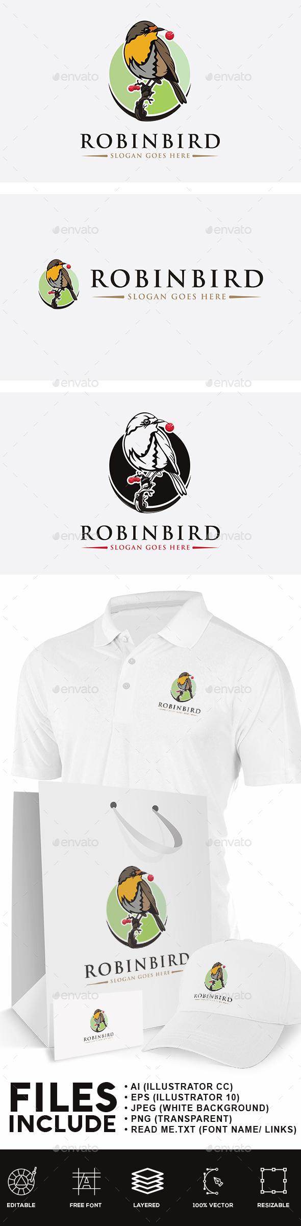 Robin Bird Logo - Animals Logo Templates