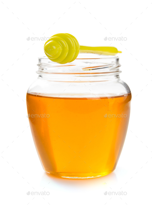 glass jar of honey - Stock Photo - Images
