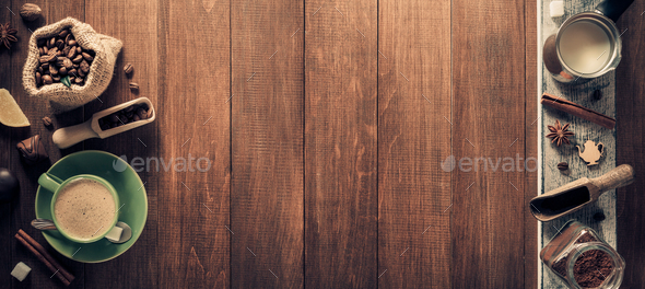 coffee concept of at wooden background - Stock Photo - Images