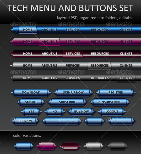 Tech menu and buttons - Web Elements