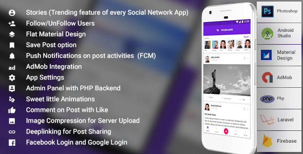 Social Media Complete App with Admin | PHP Backend | WeShare