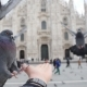 Pigeons Eating From Hands on the Background of the Duomo in Milan - VideoHive Item for Sale