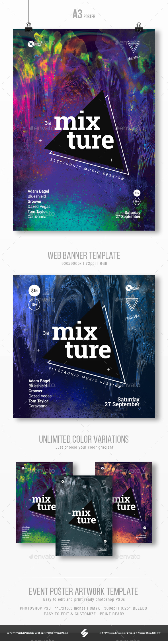 Mixture 3 - Electronic Music Party Flyer / Poster Template A3 - Clubs & Parties Events