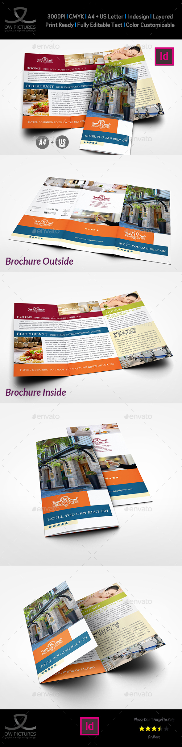 Hotel and Motel Tri-Fold Brochure Template Vol.2 - Brochures Print Templates