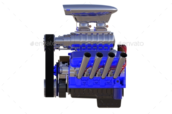 Hot Rod Engine Isolated. 3D Render