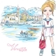 Fashion Girl in Vernazza Italia - GraphicRiver Item for Sale