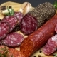 Salami and Chorizo Sausage  on Dark Concrete Background - VideoHive Item for Sale