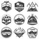 Vintage Monochrome Mountain Climbing Labels Set