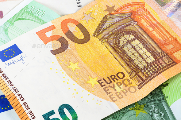 Closeup of 50 euro banknote - Stock Photo - Images