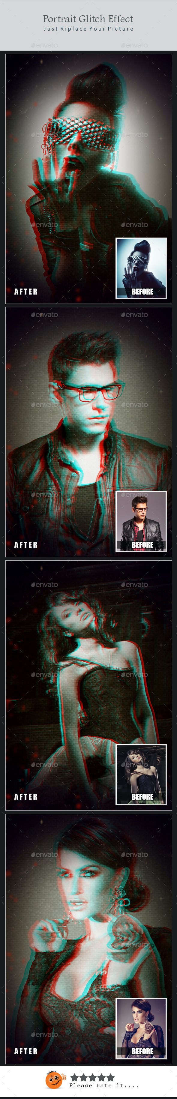 Potrait Glitch Effect - Photo Templates Graphics