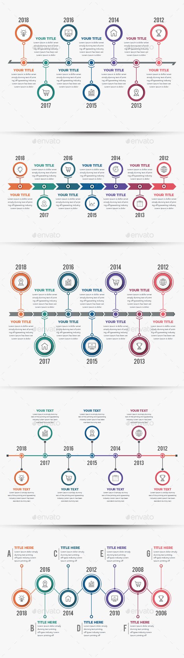 Horizontal Timeline Infographics (05 ITEM) - Infographics