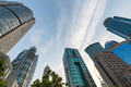 upward view of modern building in shanghai financial center - PhotoDune Item for Sale