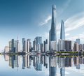 abstract shanghai cityscape, modern building with reflection in sunny - PhotoDune Item for Sale