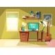 Vector Cartoon Home Office Interior Workplace