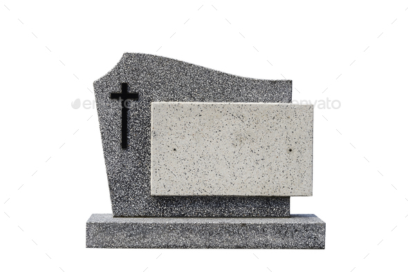 single grave stone cut out (Clipping path) - Stock Photo - Images