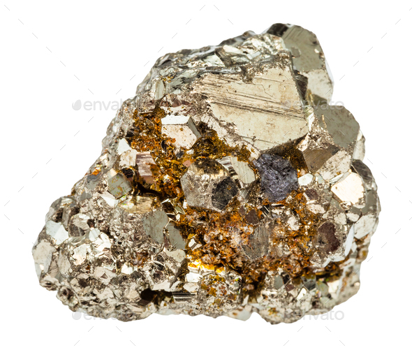 rough iron pyrite stone isolated - Stock Photo - Images