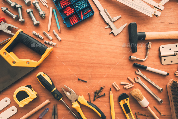 Hobby handyman tools top view on workshop desk - Stock Photo - Images