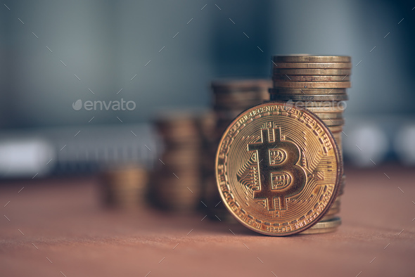 Trading with Bitcoin cryptocurrency - Stock Photo - Images