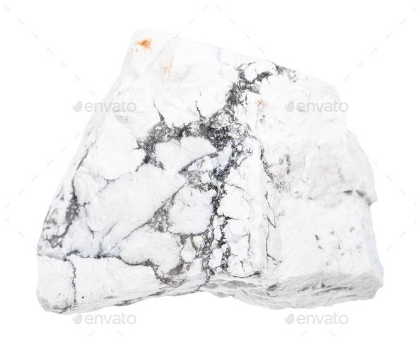 rough Howlite stone isolated on white - Stock Photo - Images
