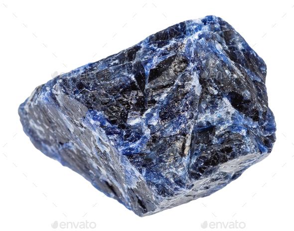 rough Sodalite gemstone isolated on white - Stock Photo - Images