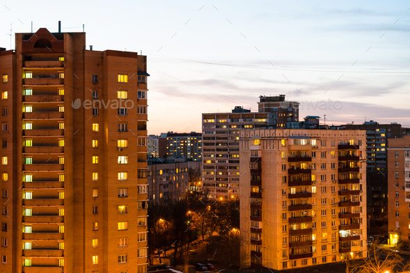 residential houses in city in spring evening - Stock Photo - Images