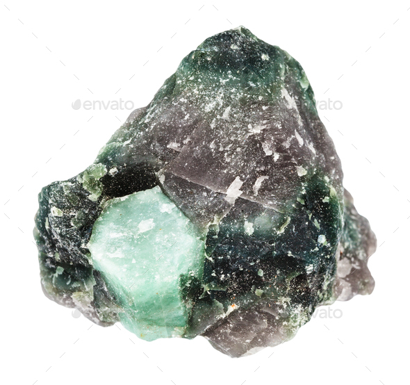 crystal of Beryl gemstone in rock isolated - Stock Photo - Images