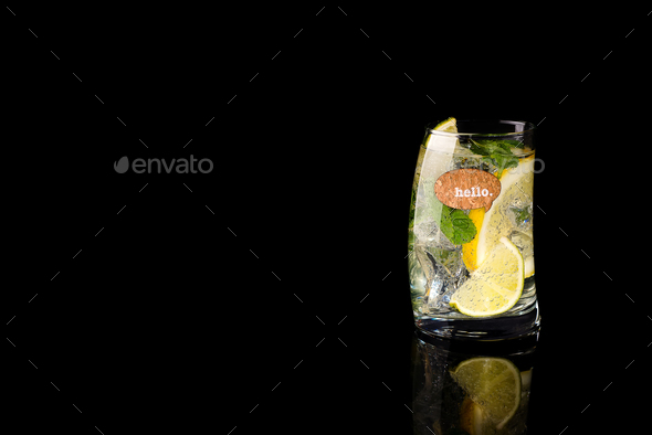 Glass of a cold cocktail drink with tonic - Stock Photo - Images