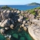 Flying Next To Huge Stones at Similan Island Number 4 Cape. Aerial View. Andaman Sea, Thailand - VideoHive Item for Sale