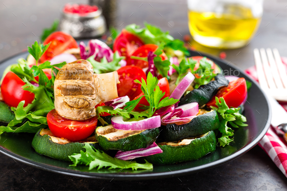 Salad with fresh and grilled vegetables and mushrooms - Stock Photo - Images