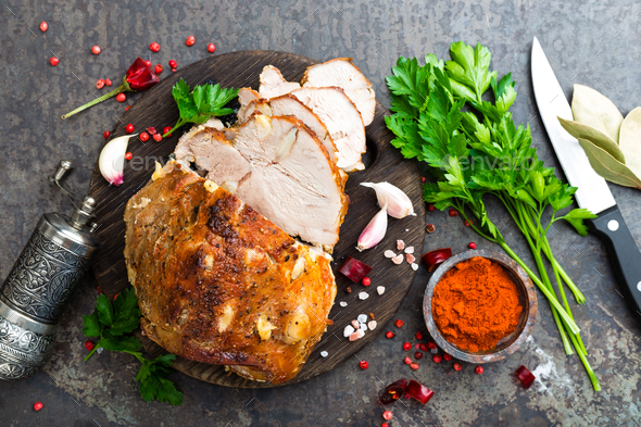 Baked meat with garlic and spices - Stock Photo - Images
