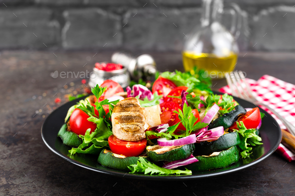 Salad with fresh and grilled - Stock Photo - Images