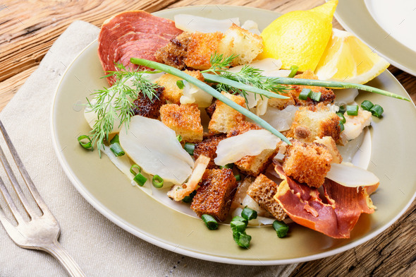 Unusual meat salad - Stock Photo - Images