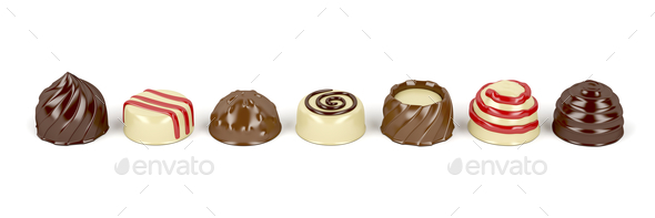 Chocolate pralines on white - Stock Photo - Images