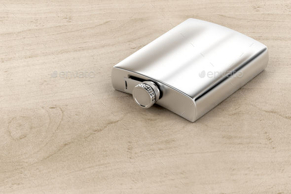 Silver hip flask - Stock Photo - Images