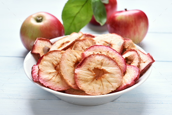 Apples chips, fruit healthy snack - Stock Photo - Images