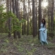 Beautiful Woman in Long Blue Dress Walks in Summer Forest - VideoHive Item for Sale