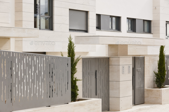 Modern residential building entrance. Estate property. Marble stone. Construction. Horizontal - Stock Photo - Images