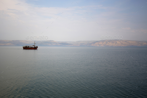 Boat on the Sea of Galilee - Stock Photo - Images