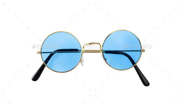 Golden frame sunglasses with blue lens isolated on white background, top view - Stock Photo - Images