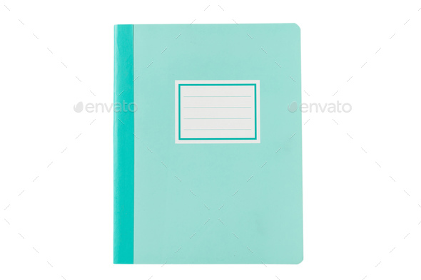 School notebook old fashioned isolated on white background, blank label, copy space, top view - Stock Photo - Images