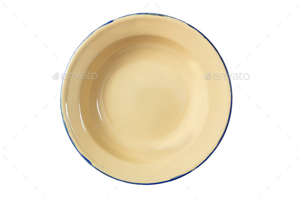 Empty enamel bowl isolated on white background, top view - Stock Photo - Images