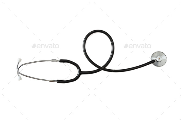 Black stethoscope isolated on white background - Stock Photo - Images