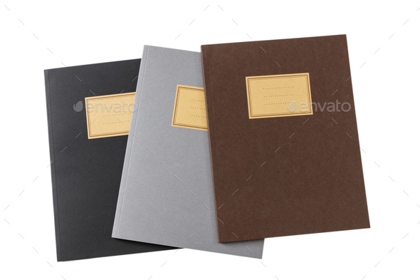 School notebooks stack, old fashioned, isolated on white background, blank label, copy space - Stock Photo - Images