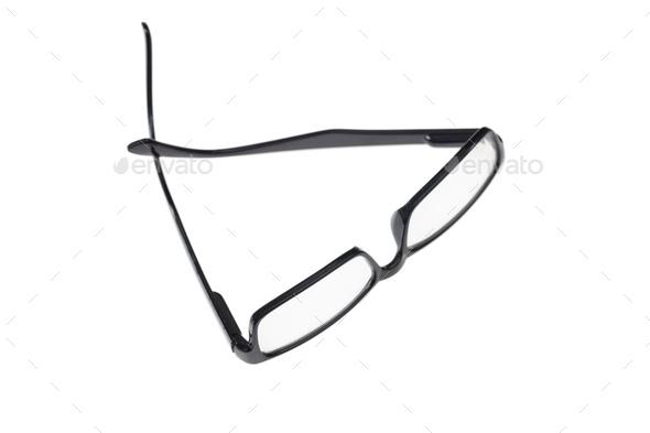 Black eyeglasses isolated on white background - Stock Photo - Images