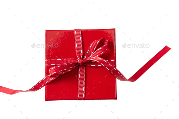 Red gift box isolated on white background, top view - Stock Photo - Images