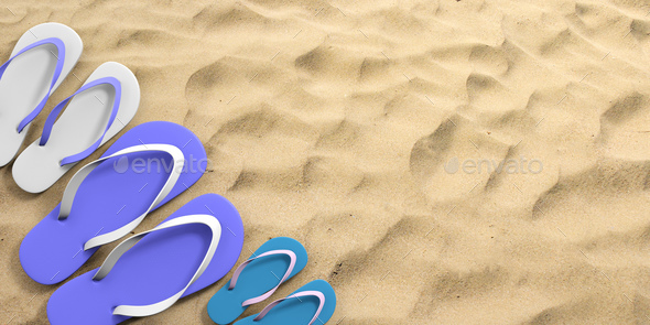 Summer family vacation. Flip flops on sandy beach, top view, copy space. 3d illustration - Stock Photo - Images