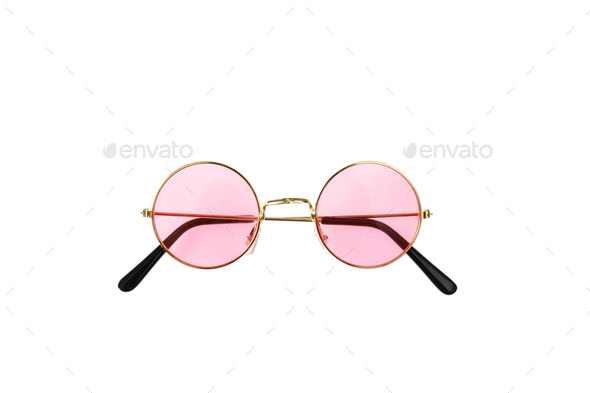 Golden frame sunglasses with pink lens isolated on white background, top view - Stock Photo - Images